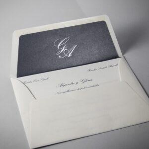 B1230 invitacion de boda sobre y forro gris