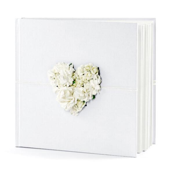 libro firmas blanco corazon floral en 3d