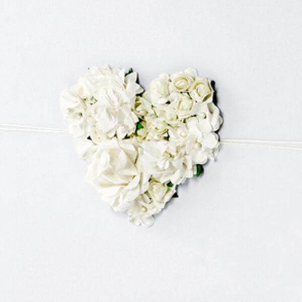 libro firmas blanco corazon floral en 3d detalle