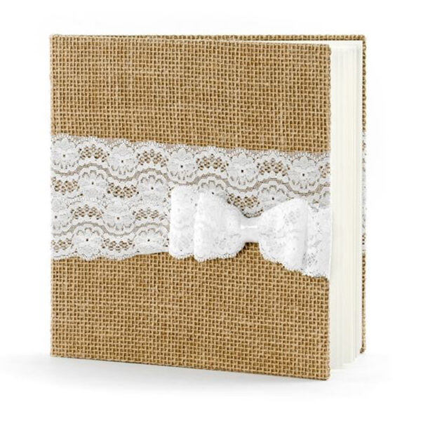 libro firmas forrado en lino con lazo blanco
