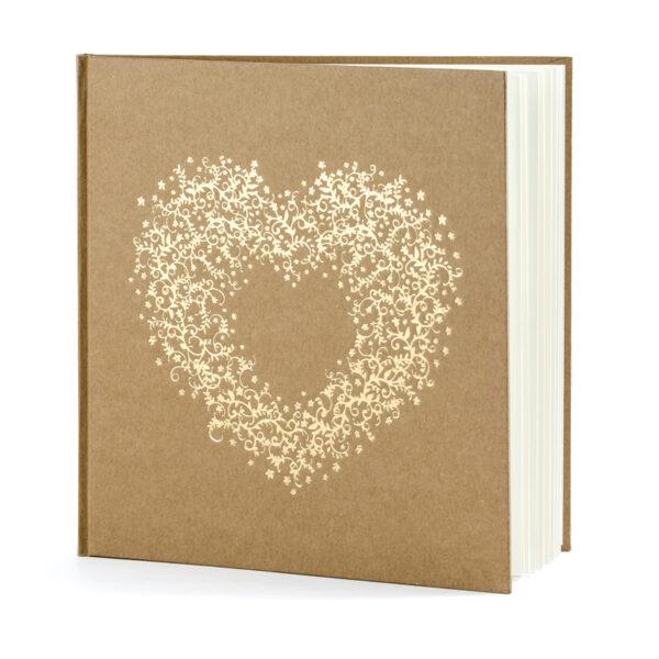 libro firmas kraft con corazon en dorado