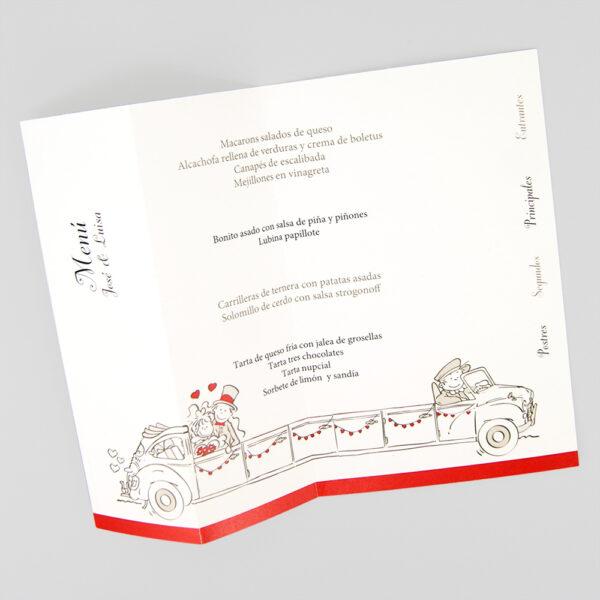 menu de boda el coche de la familia interior