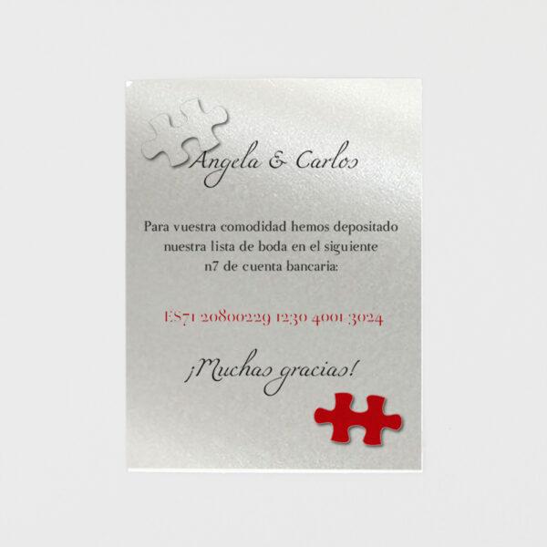 tarjeta adicional invitacion de boda corazon puzle