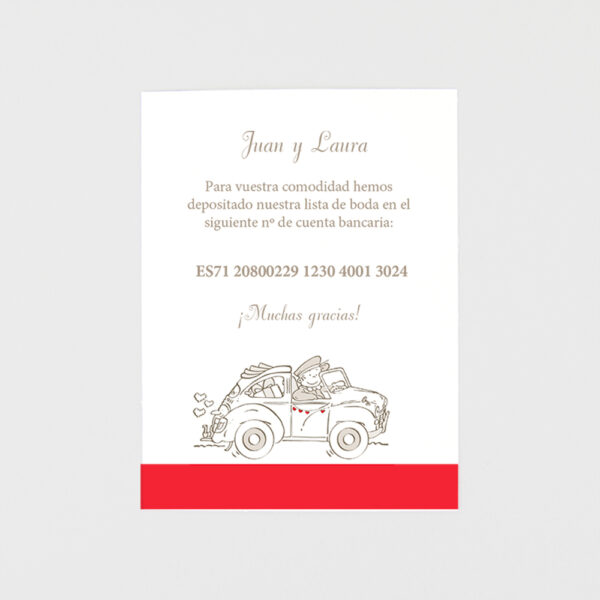 tarjeta adicional invitacion de boda el coche de la familia