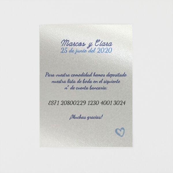 tarjeta adicional invitacion de boda fecha en el calendario