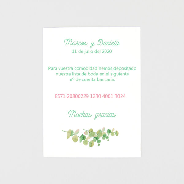 tarjeta adicional invitacion de boda floral en verde con faja