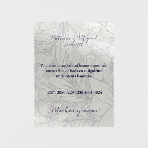 tarjeta adicional invitacion de boda nacarado floral con foto