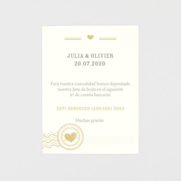 tarjeta adicional invitacion de boda pasaporte a la boda