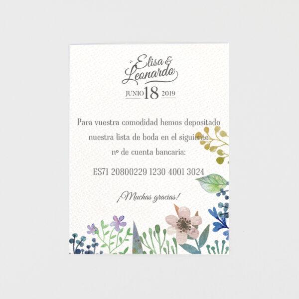 tarjeta adicional invitacion de boda vegetal floral